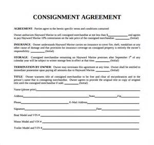 consignment agreement template sle consignment agreement 8 exle format