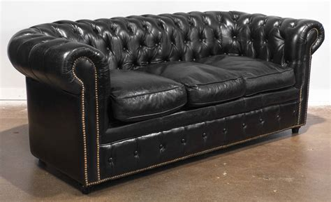 Vintage Black Leather Chesterfield Sofa At 1stdibs Leather Retro Sofa