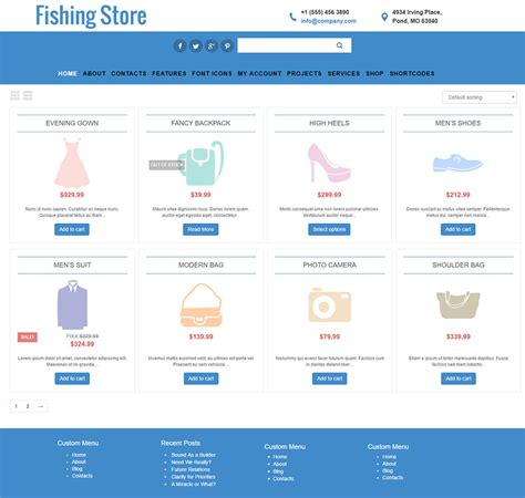woocommerce template free fishing store free woocommerce template