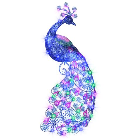 blue outdoor decorations new sparkle blue light peacock display decor