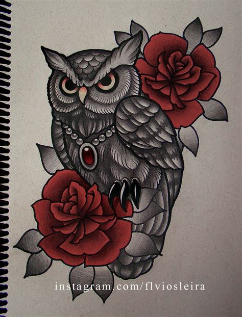 owl with roses tattoo roses owl by frah on deviantart