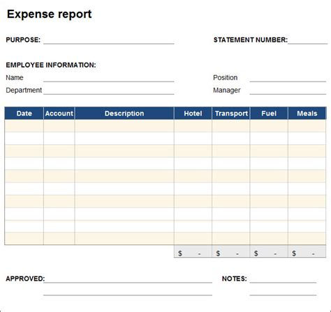 expense statement template free expense report template free business template