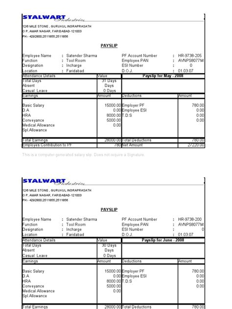 payslip template canada pay slip format