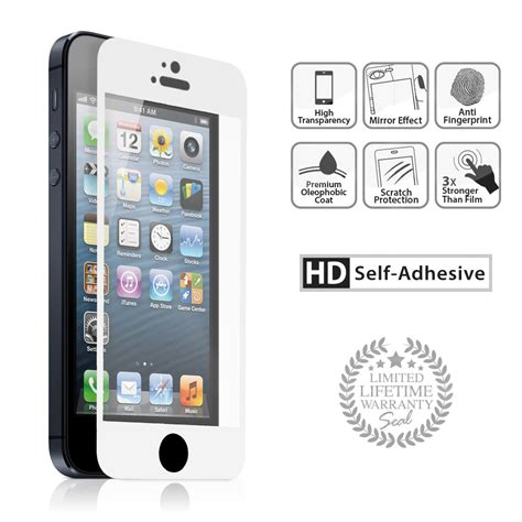 Trendy Tempered Glass Warna Colour Iphone 5 5s High Qualit iphone 5 5s 5c silver tempered glass naztech