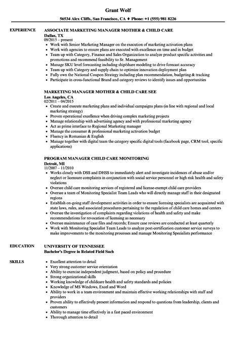 Child Care Manager Sle Resume by Child Care Manager Resume Sles Velvet