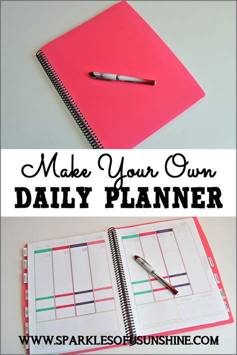 make your own daily planner sparkles of sunshine