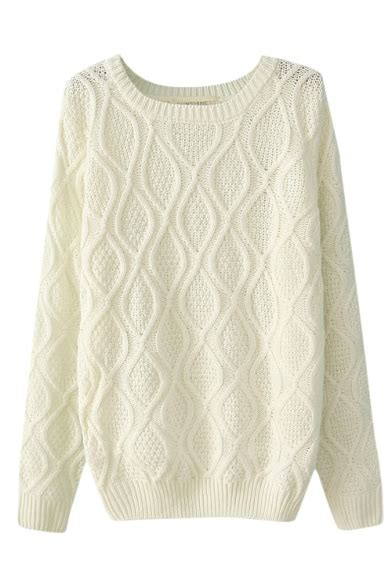 diamond pattern knit sweater plain diamond pattern cable knitted sweater with round
