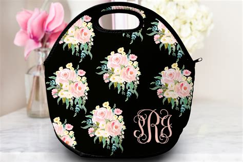 Longch Tote Flower 2120 monogrammed floral lunch tote 183 sassy southern gals 183 monogrammed gifts accessories