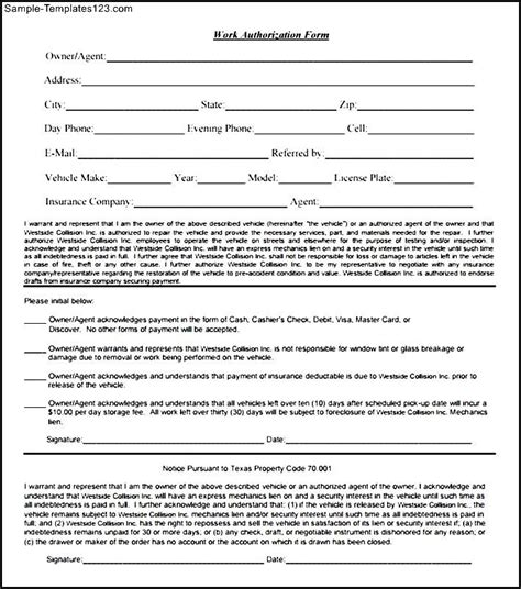 work authorization form template downloadable work authorization form sle templates