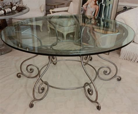 Glass Wrought Iron Dining Table Glass Top Dining Table With Attractive Wrought Iron Base At 1stdibs