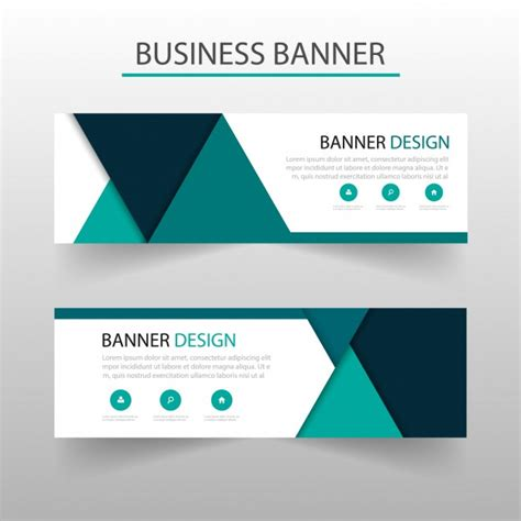 banner template with turquoise triangles geometric style