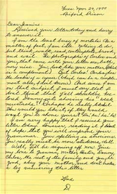 Letter To Husband In Prison by Family Sentence Transom