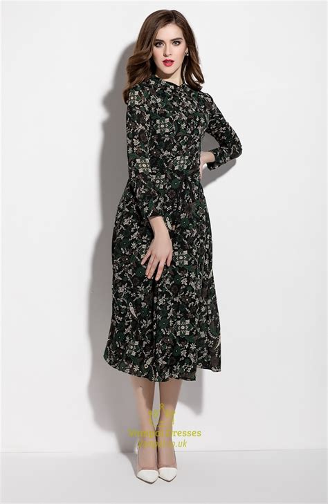 Floral Print Chiffon Dress green floral print chiffon midi dress without belt