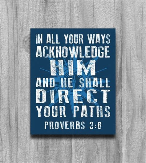 compass tattoo with bible verse proverbs 3 6 compass wall art print poster modern word art
