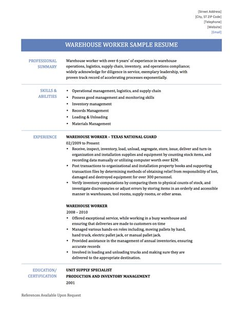 resume example warehouse worker skills list of 13 sample