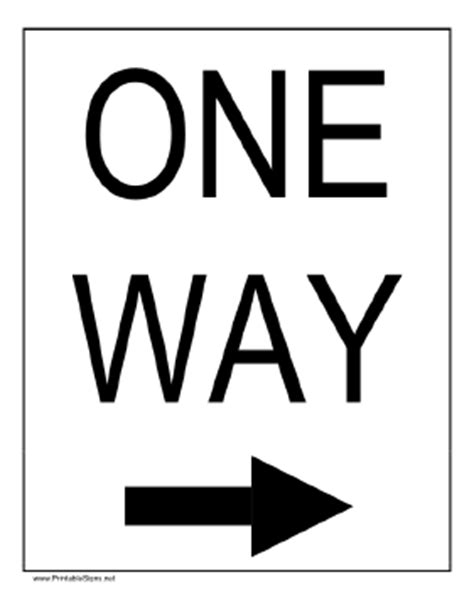 printable one way road sign printable one way to the right sign