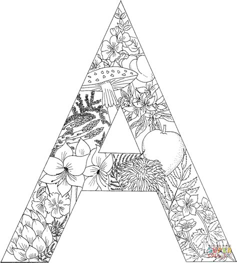letter a with plants coloring page free printable