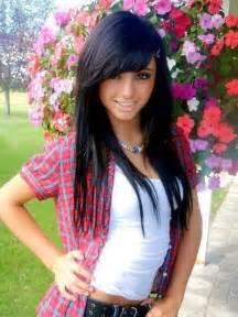 hair styles with swoop bangs black hair black layered hairstyles with side swept bangs 2017 medium hairstyles ideas