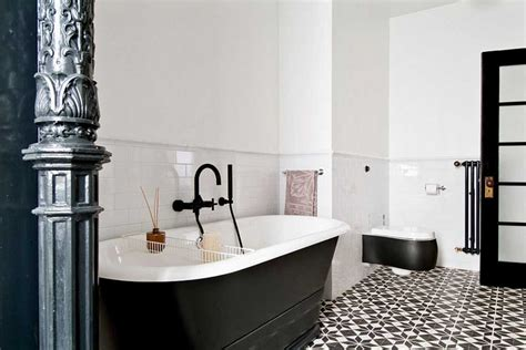 Black And White Bathroom Tile Flooring Ideas Home Black Tile Bathroom Ideas
