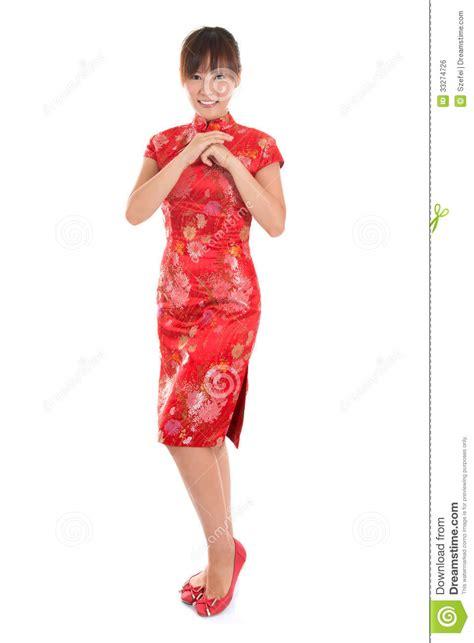 new year model cheongsam greeting stock photo image