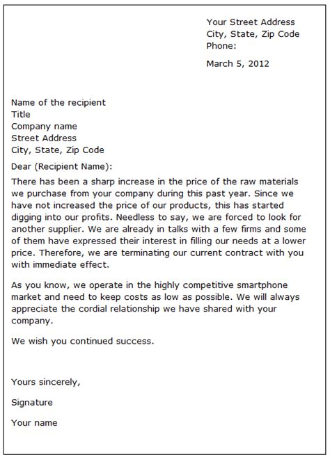 End Of Contract Letter Employment ending a business relationship sle letter
