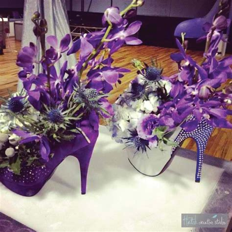 high heel shoe themed high heel floral centerpieces for a priscilla of the