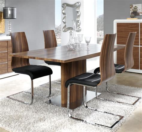 Designer Dining Tables And Chairs Modern Manhattan Walnut Look Veneer Extending Dining Table With A Stainless Steel Base