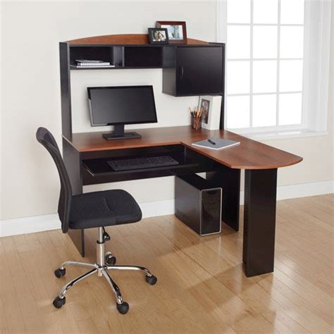 Mainstays Corner Computer Desk Corner L Shaped Desk With Hutch Black And Cherry Office Computer Table Study Mainstays Http