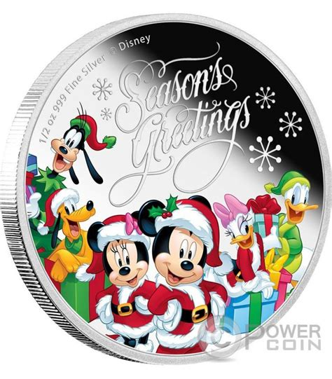 season  christmas mickey  friends disney  oz silver proof coin  niue