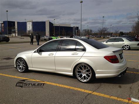 satin pearl white mercedes c300 vehicle customization