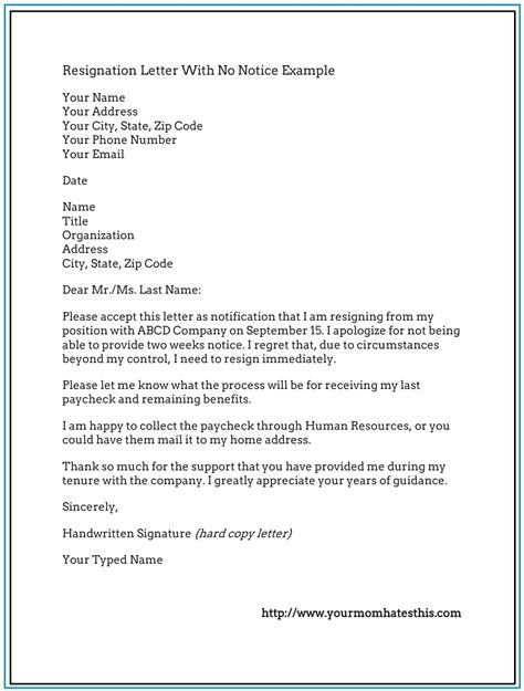 a letter resignation letter exle with no notice sle