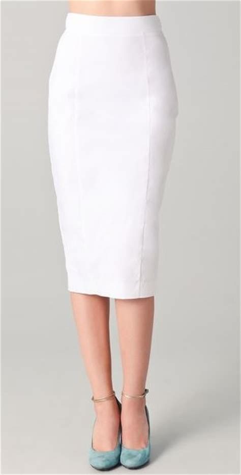 n 176 21 ss lace panel pencil skirt in white lyst