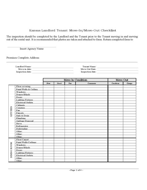 Tenant Apartment Inspection Checklist Kansas Landlord Tenant Move In Move Out Checklist Free
