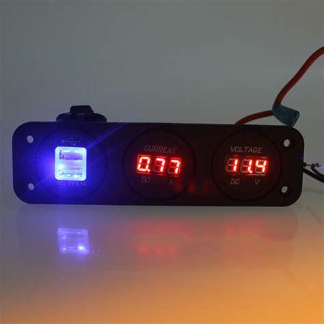 Car Charger 3 In 1 Voltmeter Usb Charger Thermometer 12v 24v car motorcycle 3 in 1 digital voltmeter ammeter