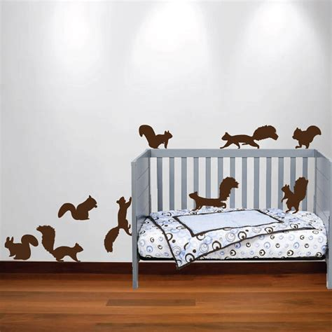 Squirrel Chipmunk Wall Decal Nursery Sticker Set Forest Wall Decals For Nursery