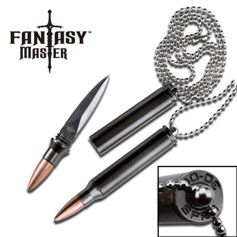 chain knives master bullet design neck knife silver bead chain
