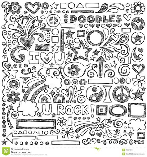 how to doodle in school back to school sketchy notebook doodles vector ill stock