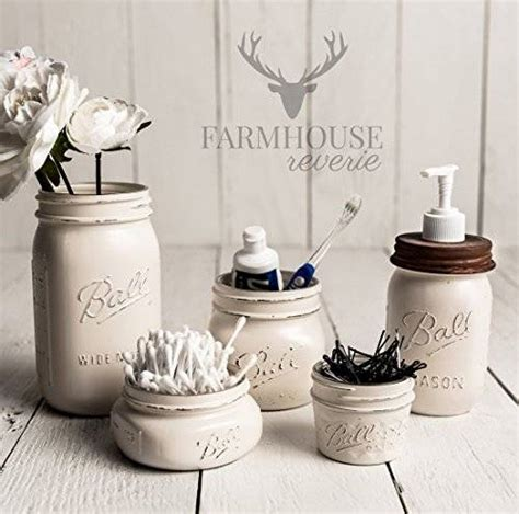 rustic home decor mason jar bathroom set by therusticthorn on etsy amazon com antique white rustic mason jar bathroom set