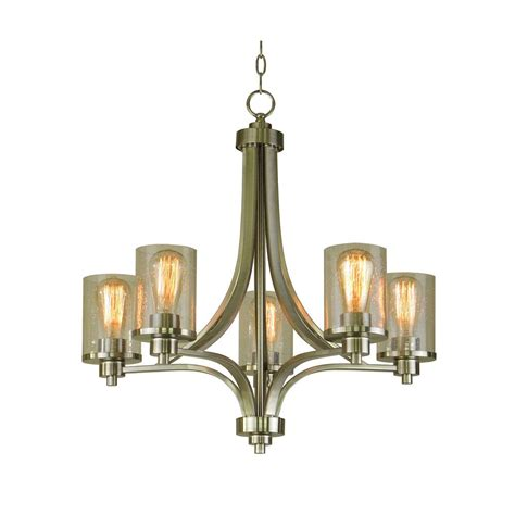Seeded Glass Chandeliers Filament Design 5 Light Satin Steel Chandelier With Seeded Glass Shade Ch531 5ss The Home Depot