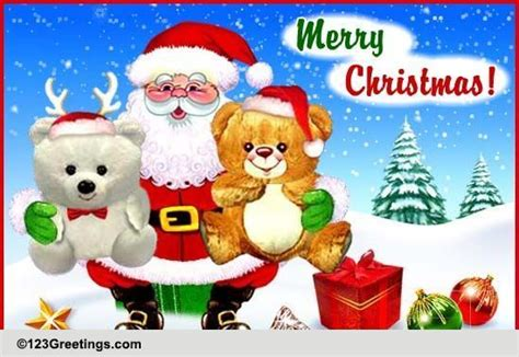 santa brings christmas hugs  santa claus ecards greeting cards