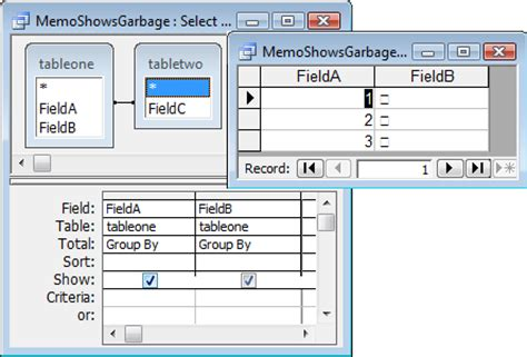 microsoft access flaws grouping by memo field yields garbage