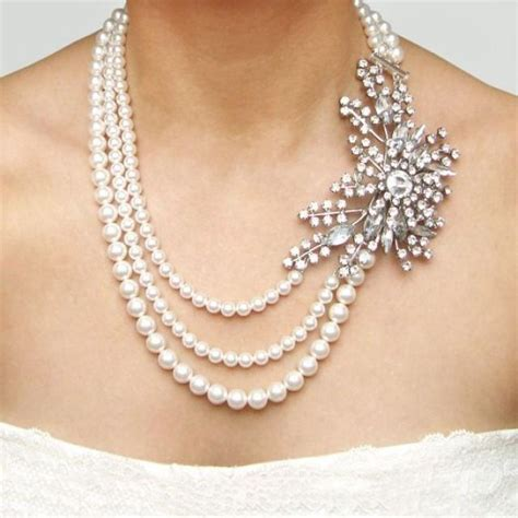 bridal jewelry michelles vintage jewelry statement bridal necklace rhinestone pearl wedding