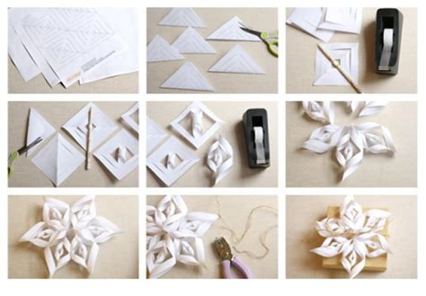 by steps how to make a 3d snowflake 20 diy christmas decorations and crafts ideas