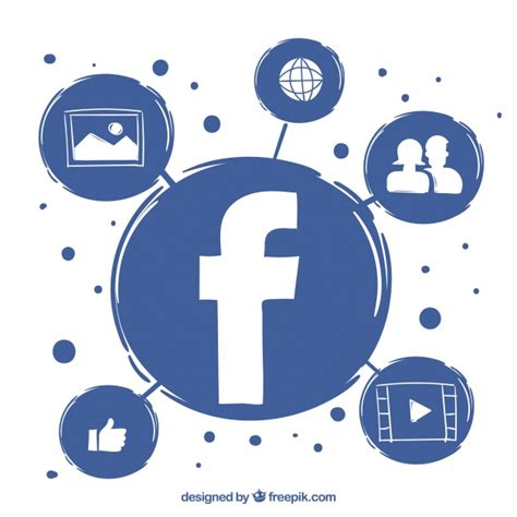 facebook layout vector free download facebook background and hand drawn icons vector free