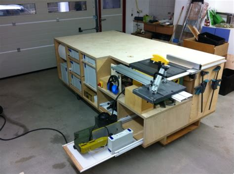 table saw work bench rolling workbench systainer port tablesaw and router