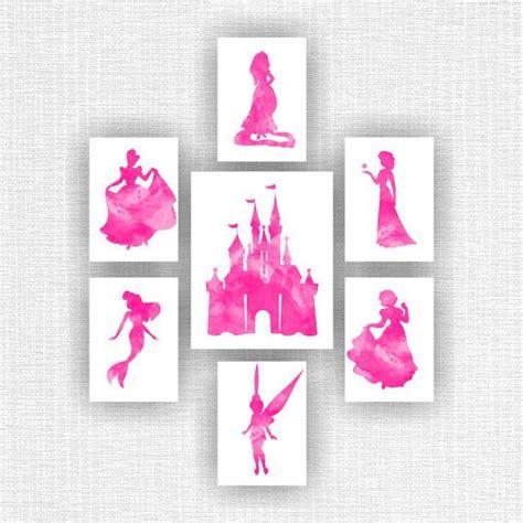disney princess printable wall art disney princess wall art castle watercolor silhouette