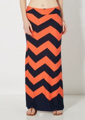 coral navy chevron maxi skirt shopswell