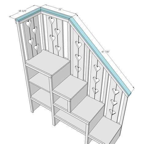 Bunk Bed Plans With Storage White Sweet Pea Garden Bunk Bed Storage Stairs Diy Projects