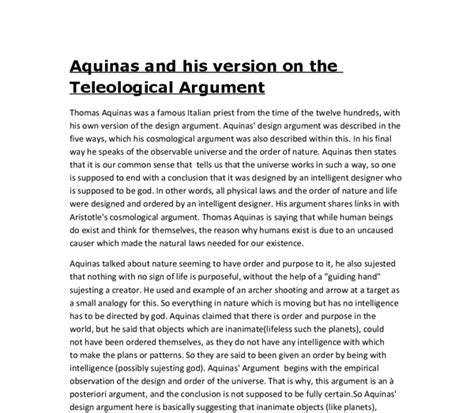 Aquinas Essay by Aquinas And His Version On The Teleological Argument A Level Religious Studies Philosophy