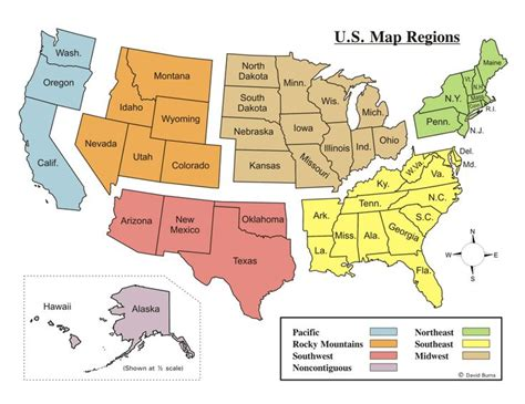 printable us map by regions printable us map with regions